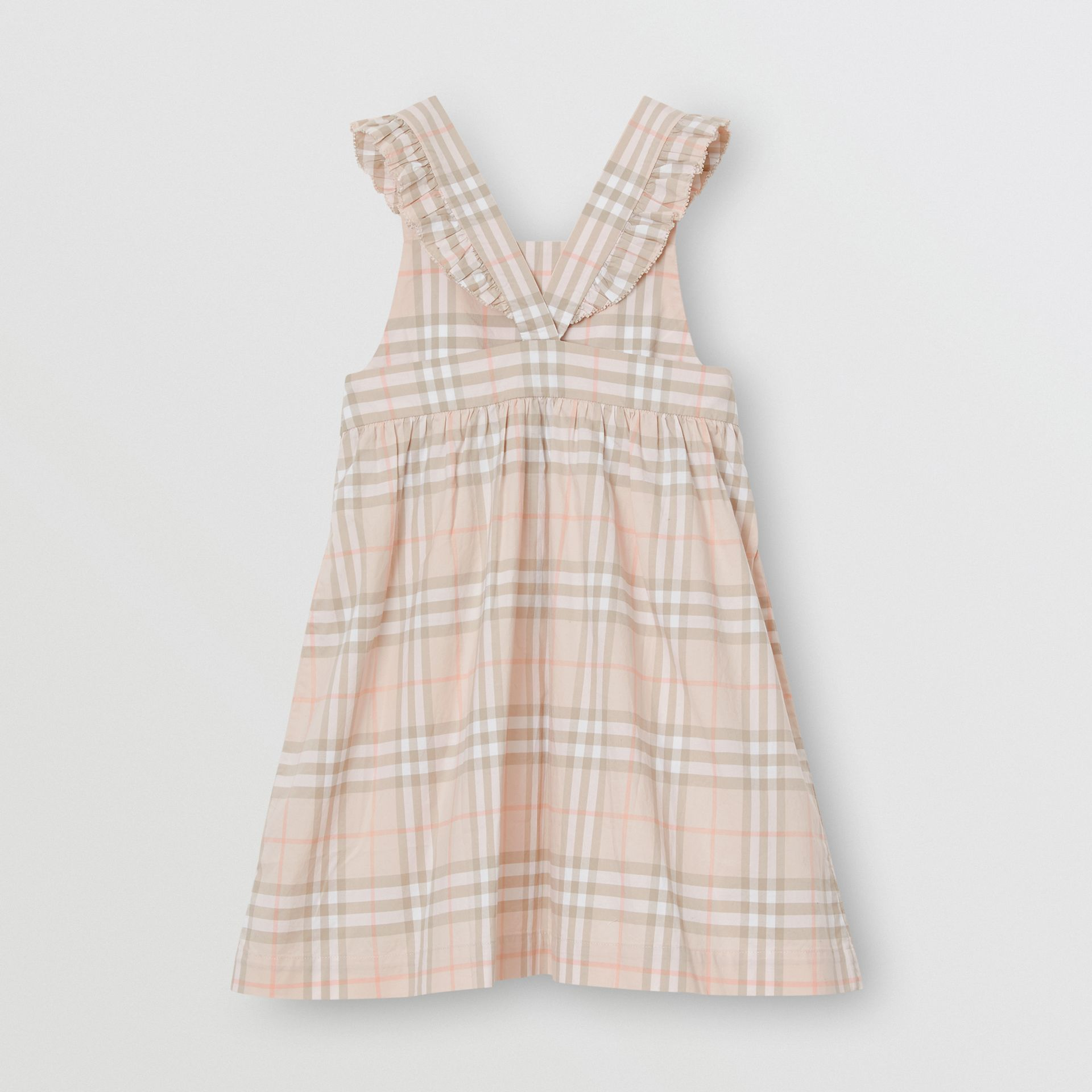 Ruffle Detail Check Cotton Dress in Pale Pink Apricot | Burberry Australia - gallery image 3