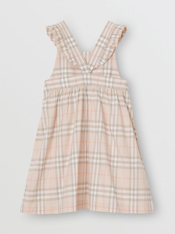 Ruffle Detail Check Cotton Dress in Pale Pink Apricot | Burberry - cell image 3