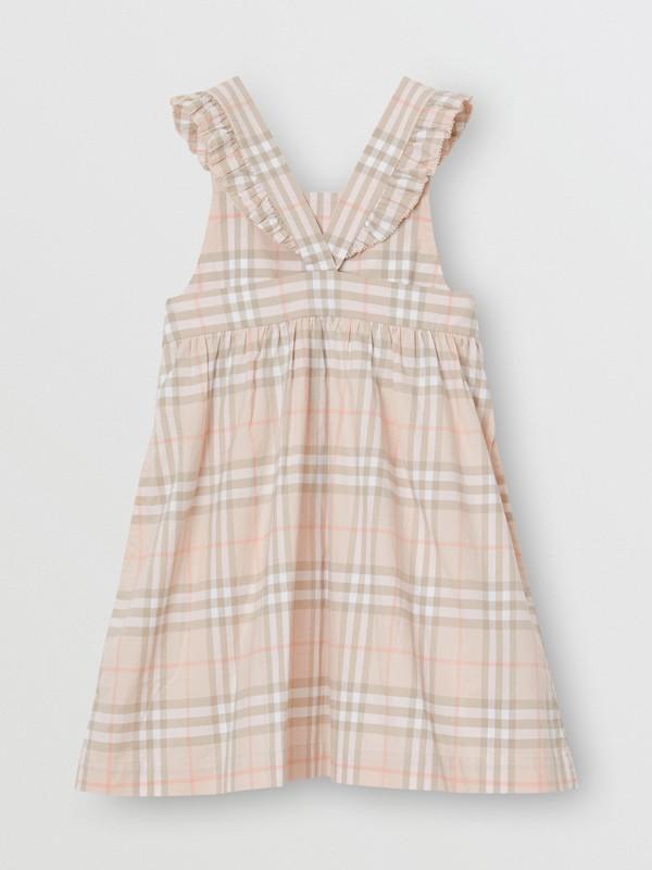 Vestitino in cotone con motivo tartan e arricciature (Rosa Albicocca Pallido) | Burberry - cell image 3