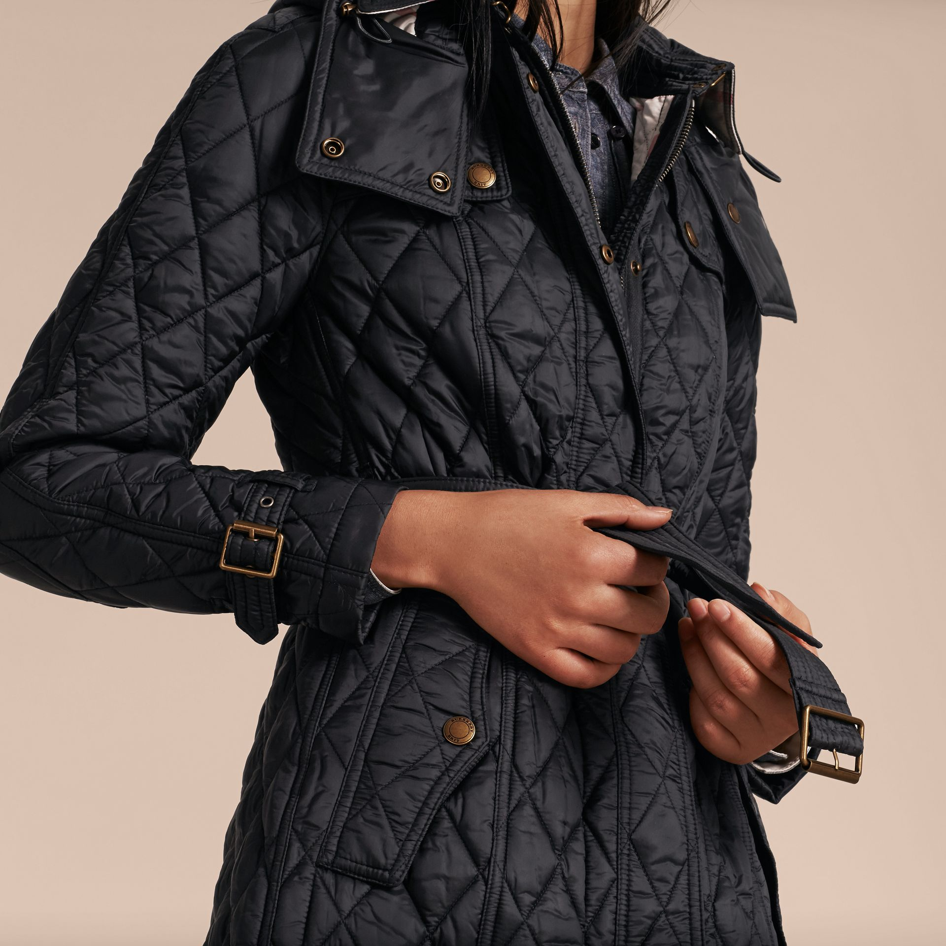 Diamond Quilted Coat Black - gallery image 5