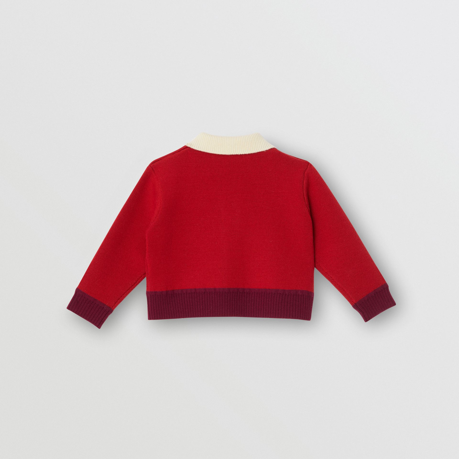 Logo Detail Merino Wool Blend Cardigan in Bright Red - Children | Burberry United Kingdom - gallery image 3