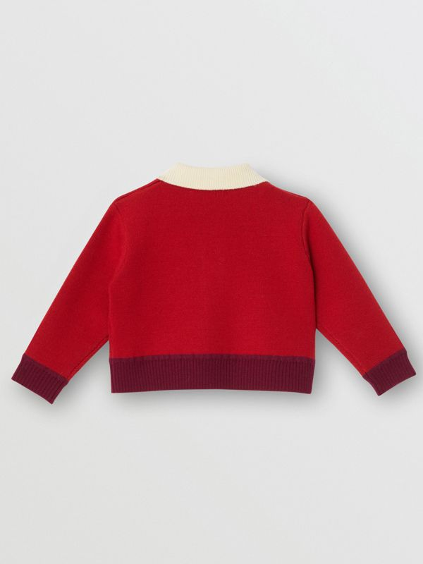 Logo Detail Merino Wool Blend Cardigan in Bright Red - Children | Burberry United Kingdom - cell image 3
