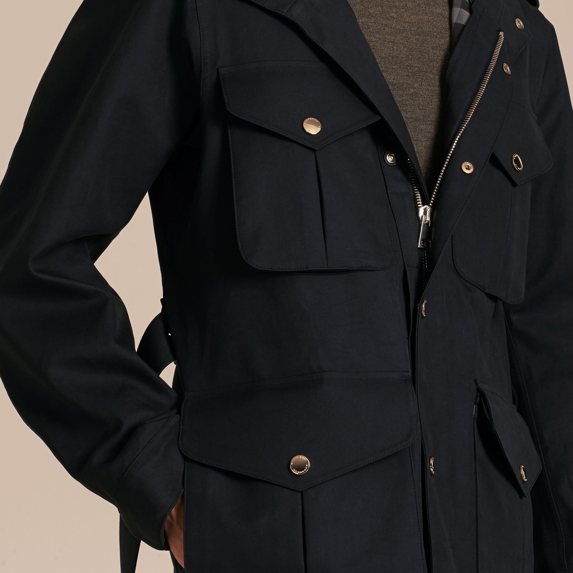 Hooded Bonded Cotton Field Jacket - gallery image 5