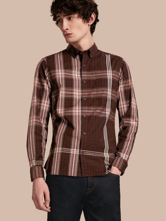 Stretch Cotton Poplin Check Shirt Dark Elderberry