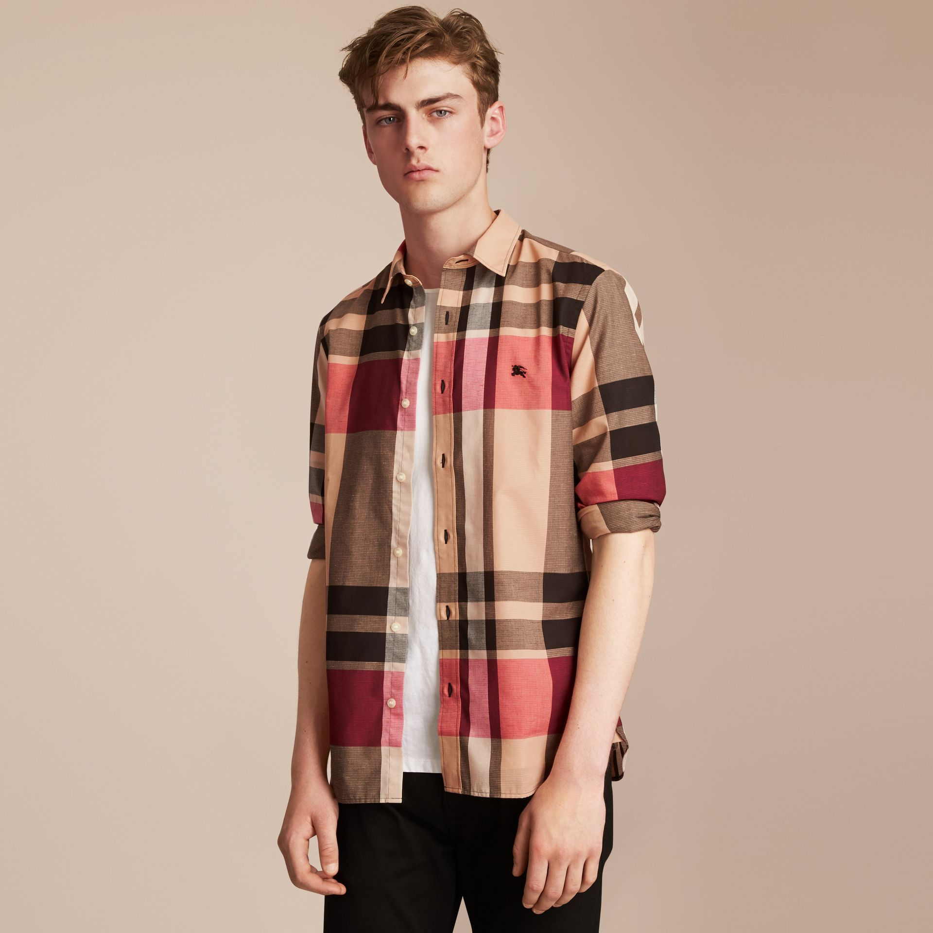 Check Cotton Linen Shirt in Camel - Men | Burberry - gallery image 6