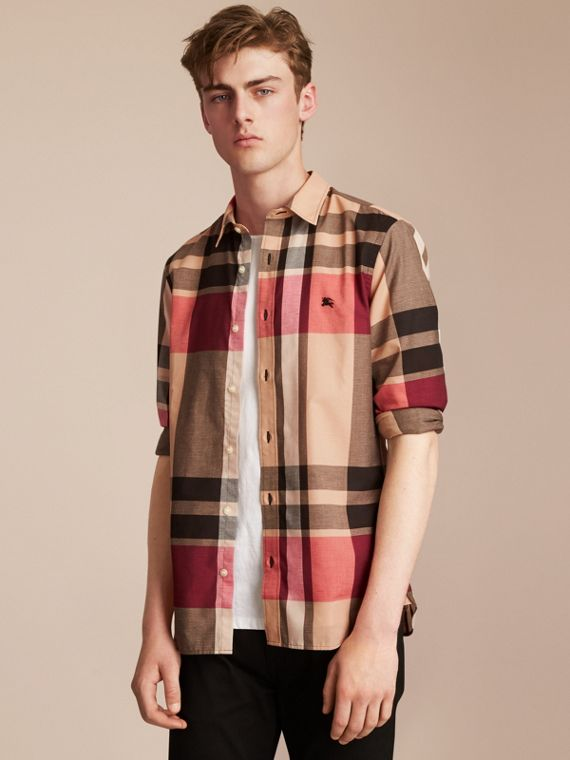 Check Cotton Linen Shirt in Camel - Men | Burberry Singapore