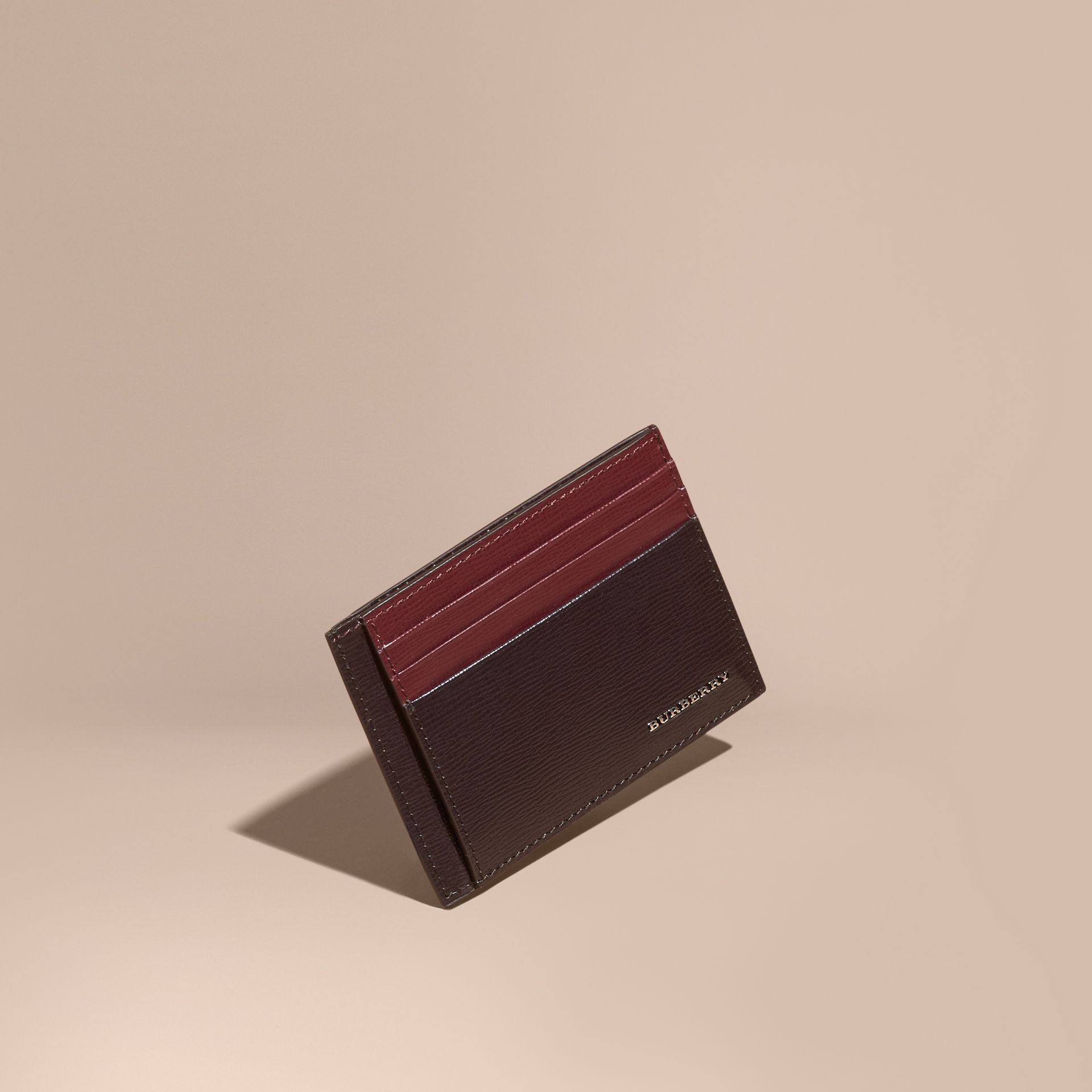 Wine/burgundy red Colour Block London Leather Card Case Wine/burgundy Red - gallery image 1