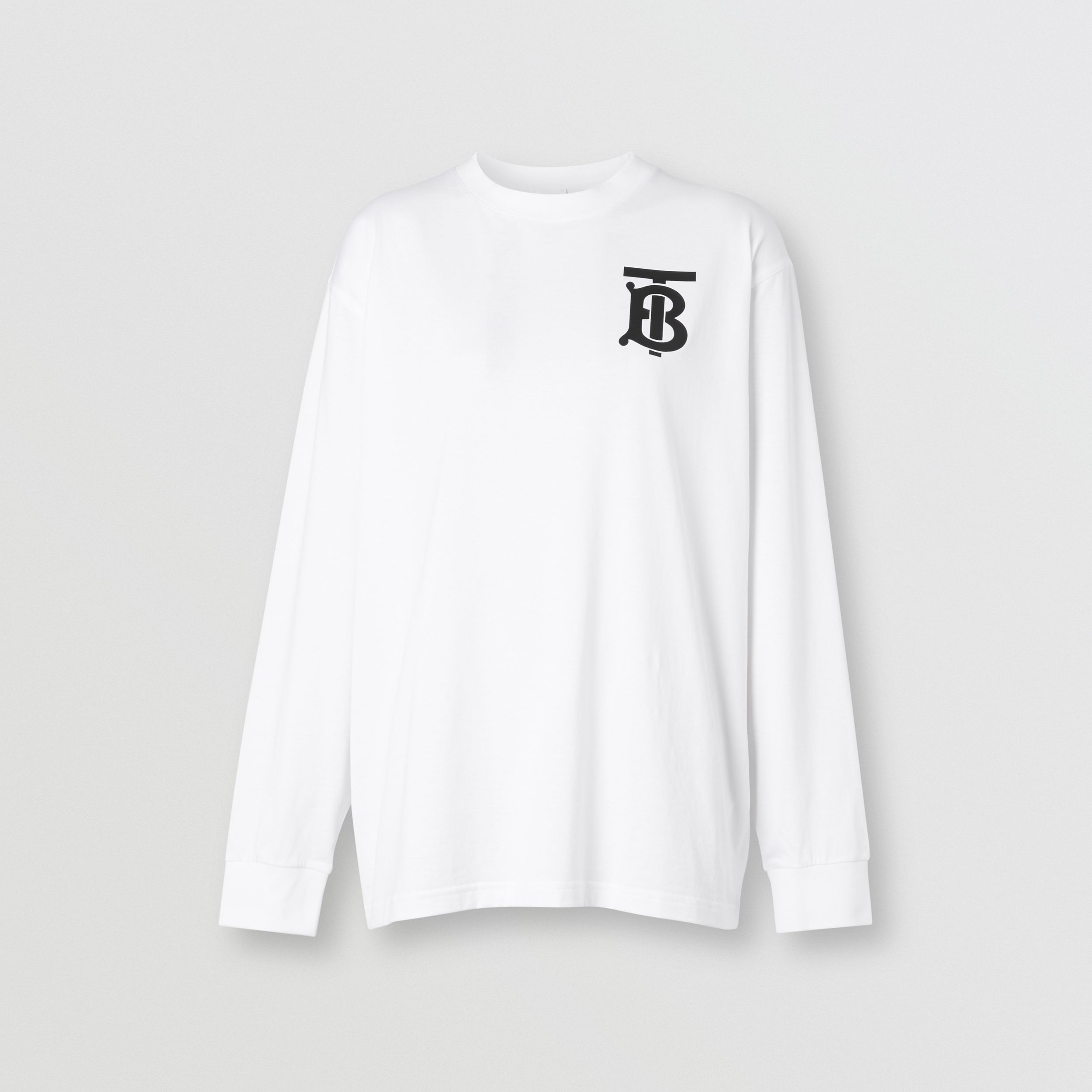 Long-sleeve Monogram Motif Cotton Top in White - Women | Burberry - 4