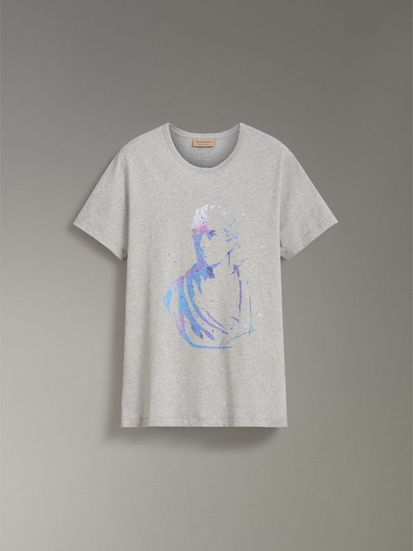 Bust Print Mélange Cotton T-shirt in Pale Grey Melange - Men | Burberry - cell image 3
