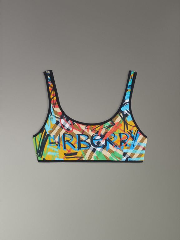 Graffiti Print Vintage Check Bikini in Amber Yellow - Women | Burberry - cell image 1