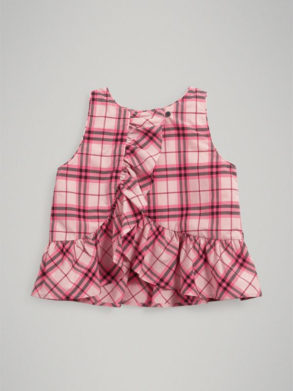 Ruffle Detail Check Cotton Top in Bright Rose | Burberry - cell image 3