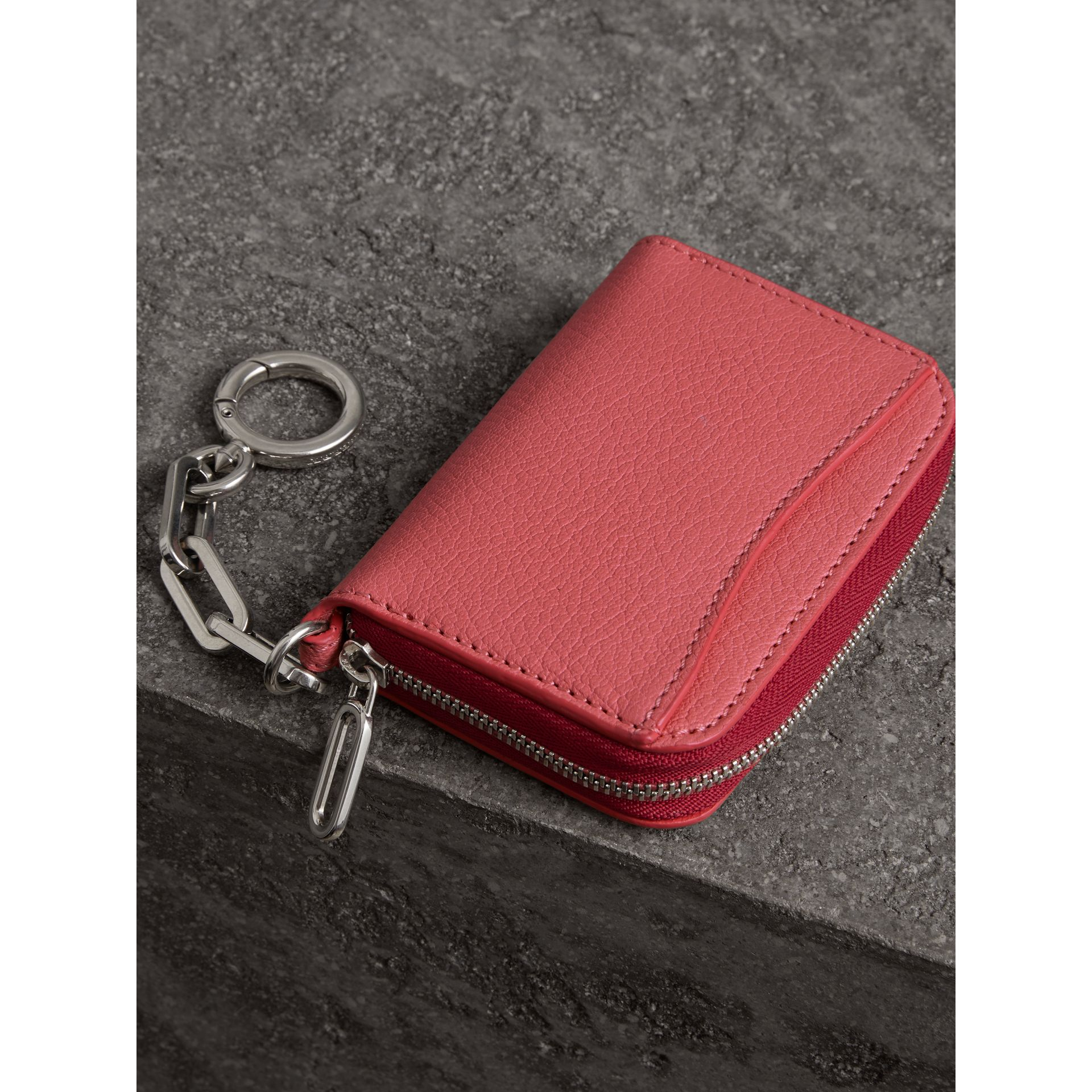 Link Detail Leather Ziparound Wallet in Bright Coral Pink - Women | Burberry - gallery image 2