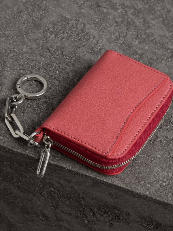 Link Detail Leather Ziparound Wallet in Bright Coral Pink - Women | Burberry - cell image 2