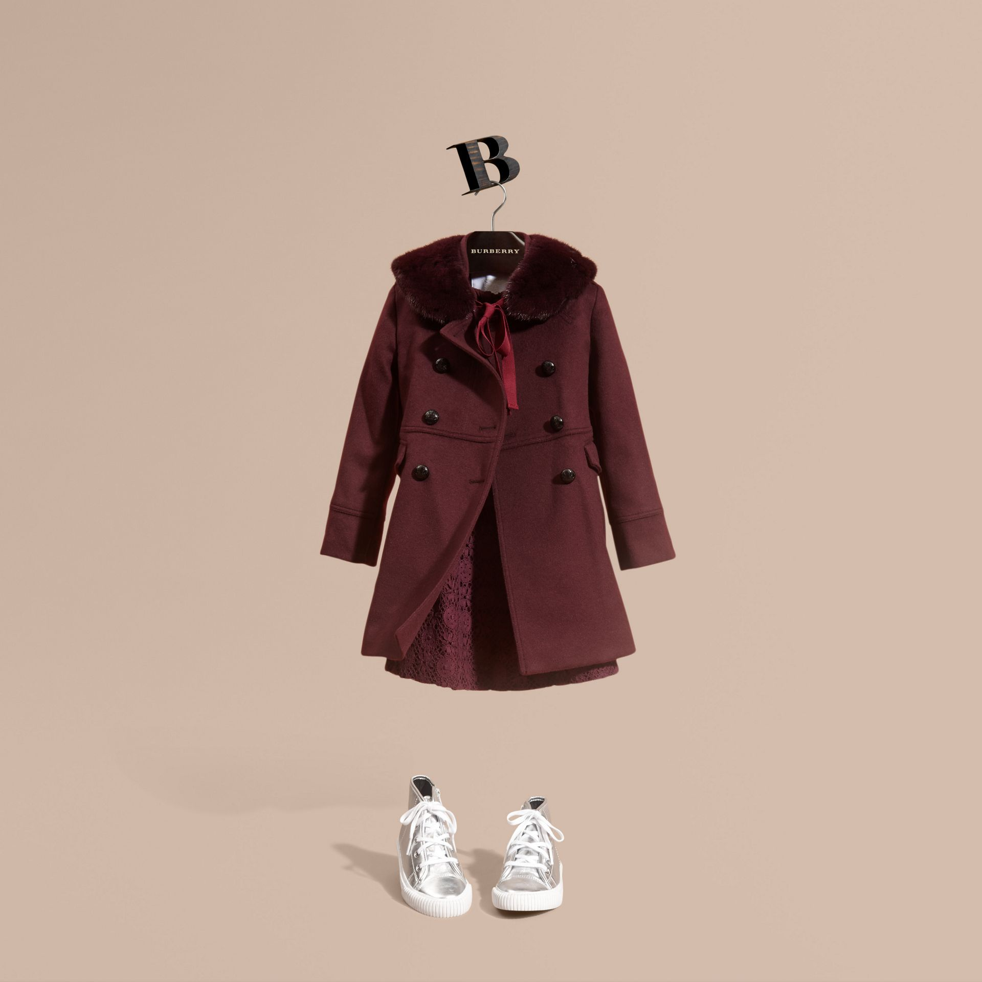 Deep plum Wool Cashmere Military Coat - gallery image 1