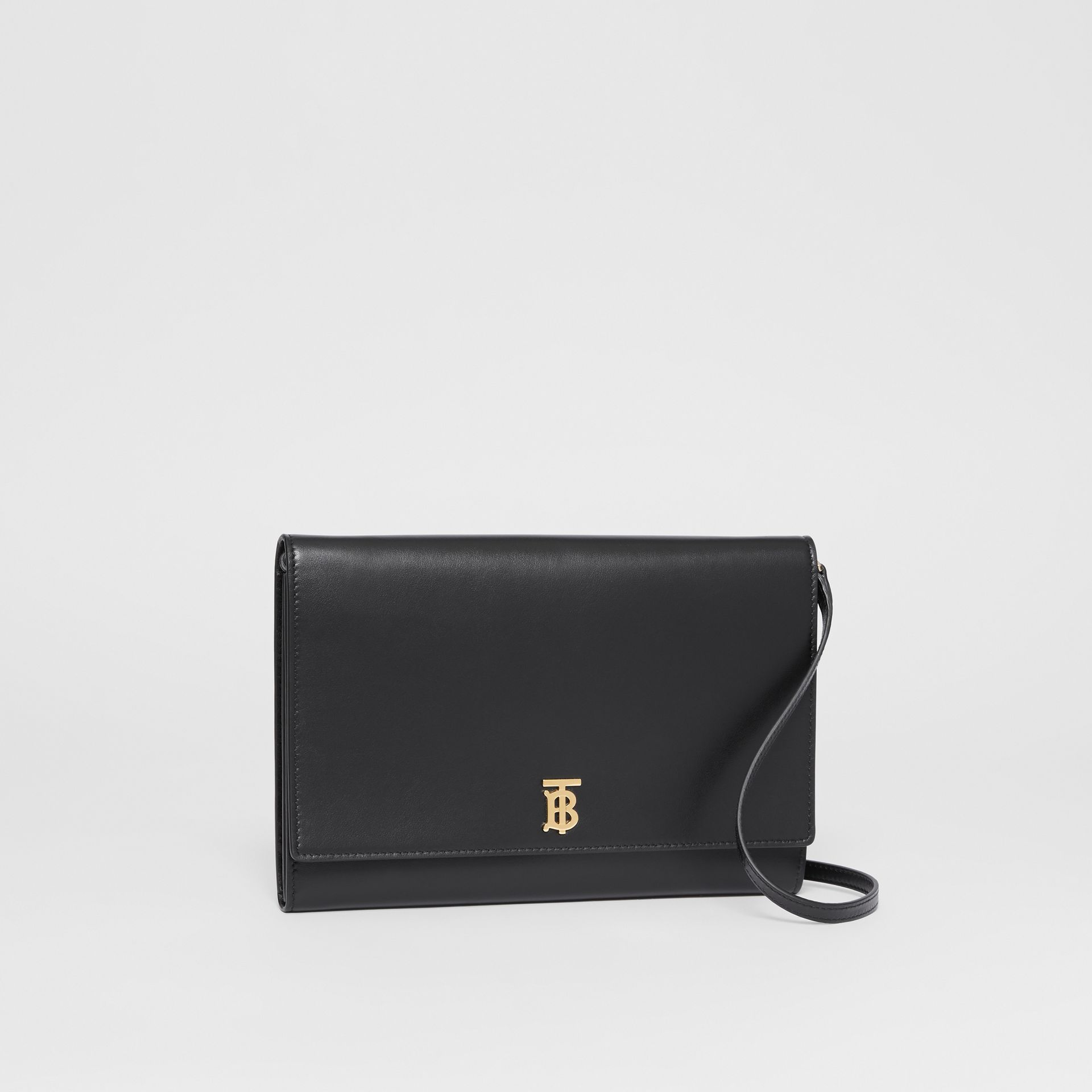 Monogram Motif Leather Bag with Detachable Strap in Black - Women | Burberry Australia - gallery image 6