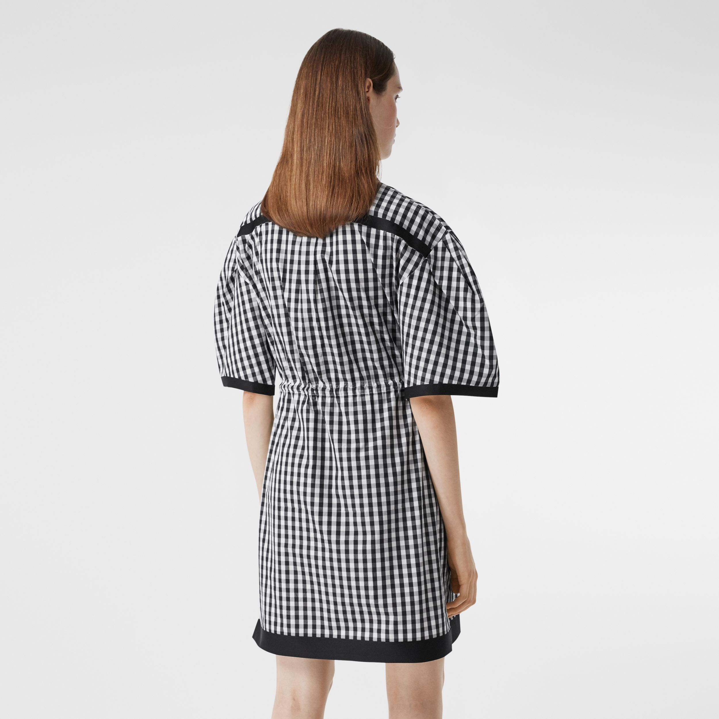 Puff-sleeve Gingham Cotton Shirt Dress in Black - Women | Burberry - 3