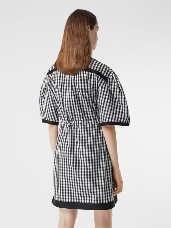 Puff-sleeve Gingham Cotton Shirt Dress in Black - Women | Burberry Australia - cell image 2