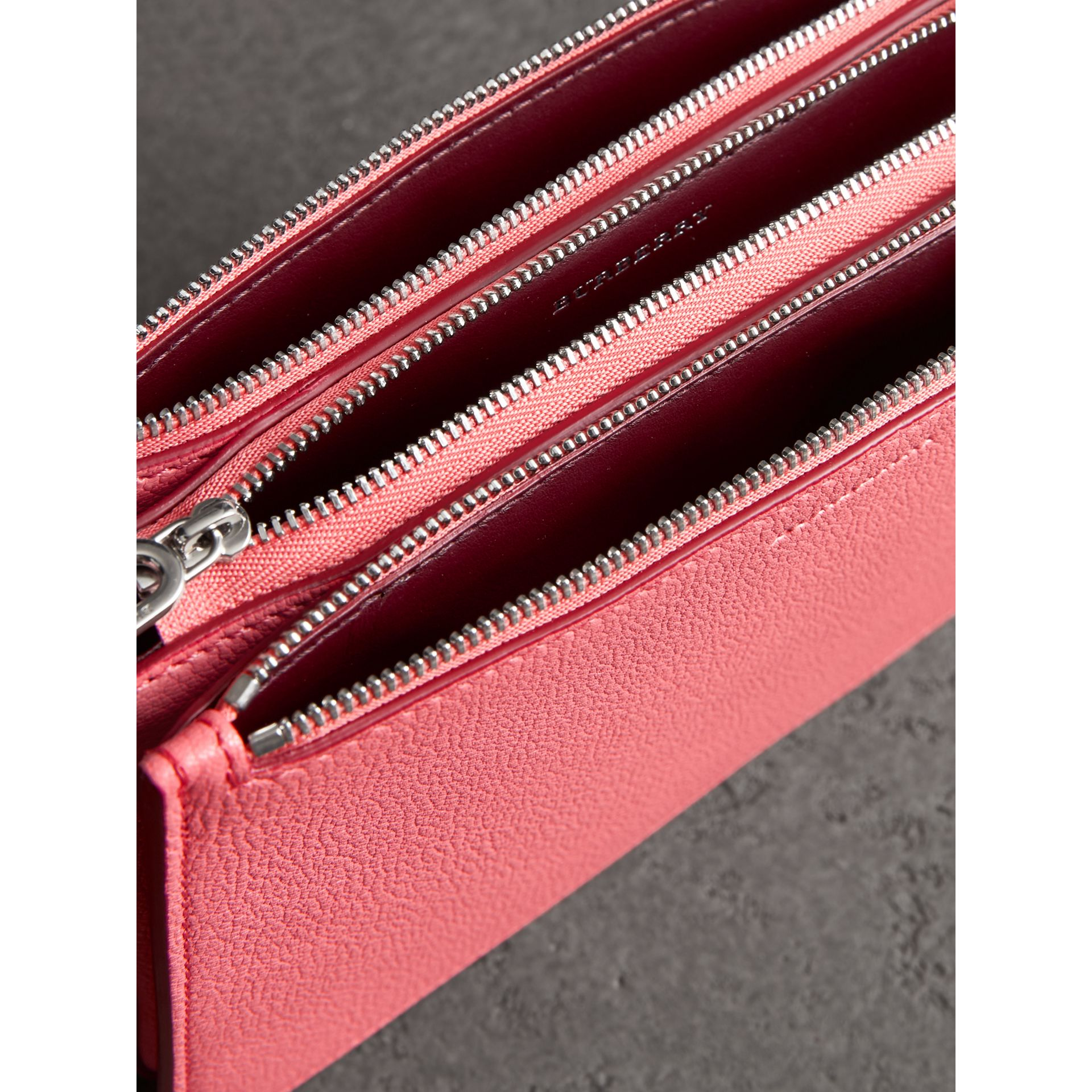 Triple Zip Grainy Leather Crossbody Bag in Bright Coral Pink - Women | Burberry Australia - gallery image 3
