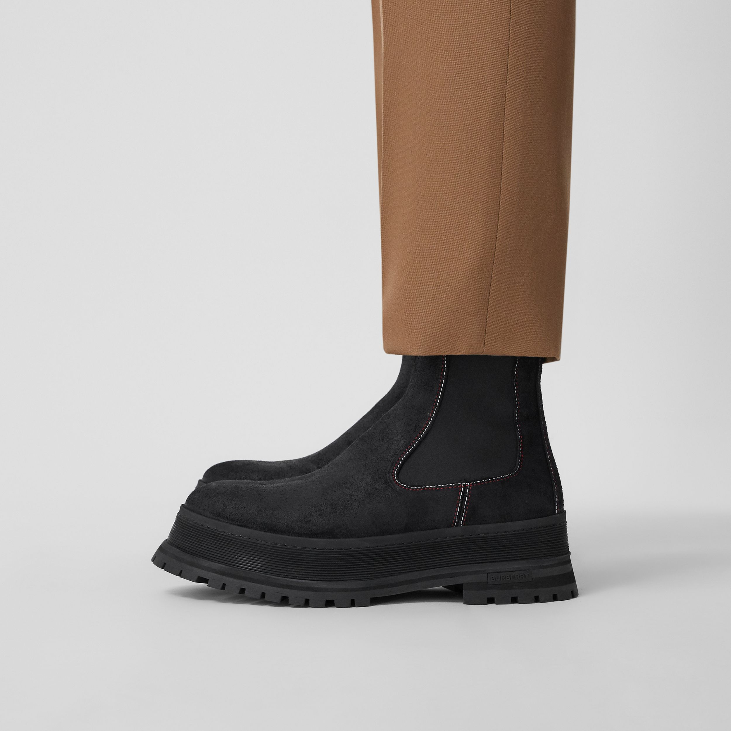 Topstitched Suede Chelsea Boots in Black/red/white - Men | Burberry Canada - 3