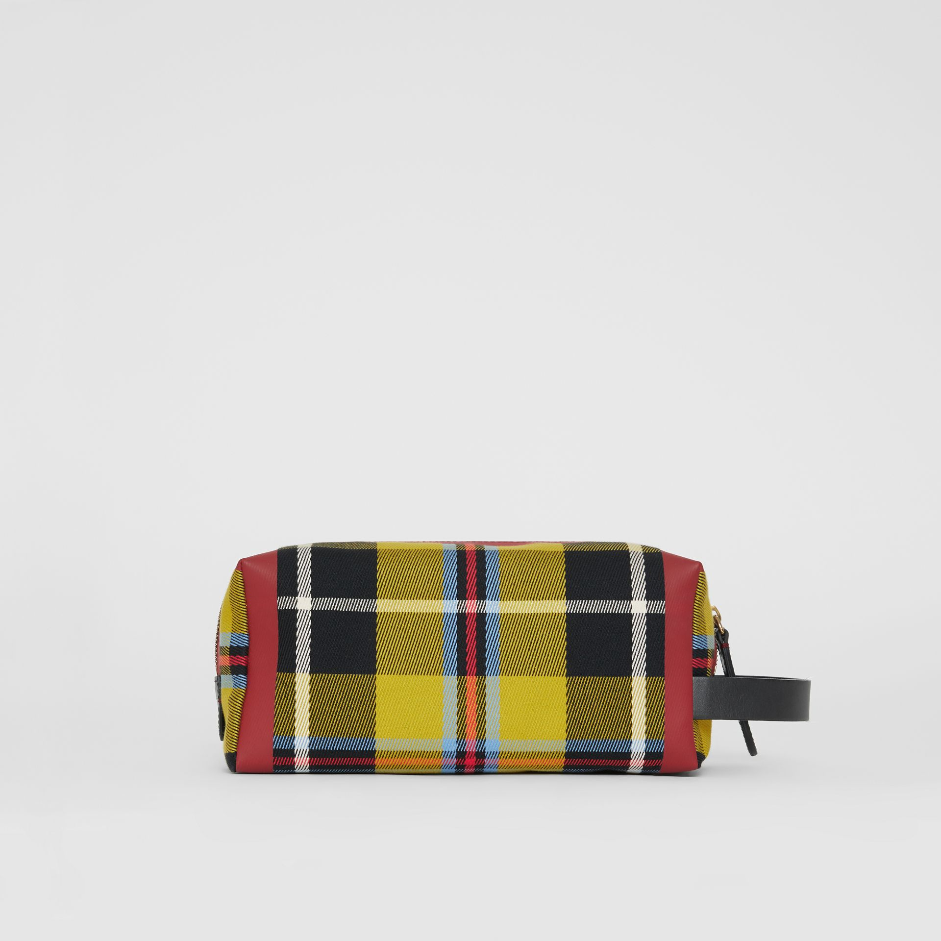 Tartan Cotton Pouch in Ochre Yellow | Burberry - gallery image 8