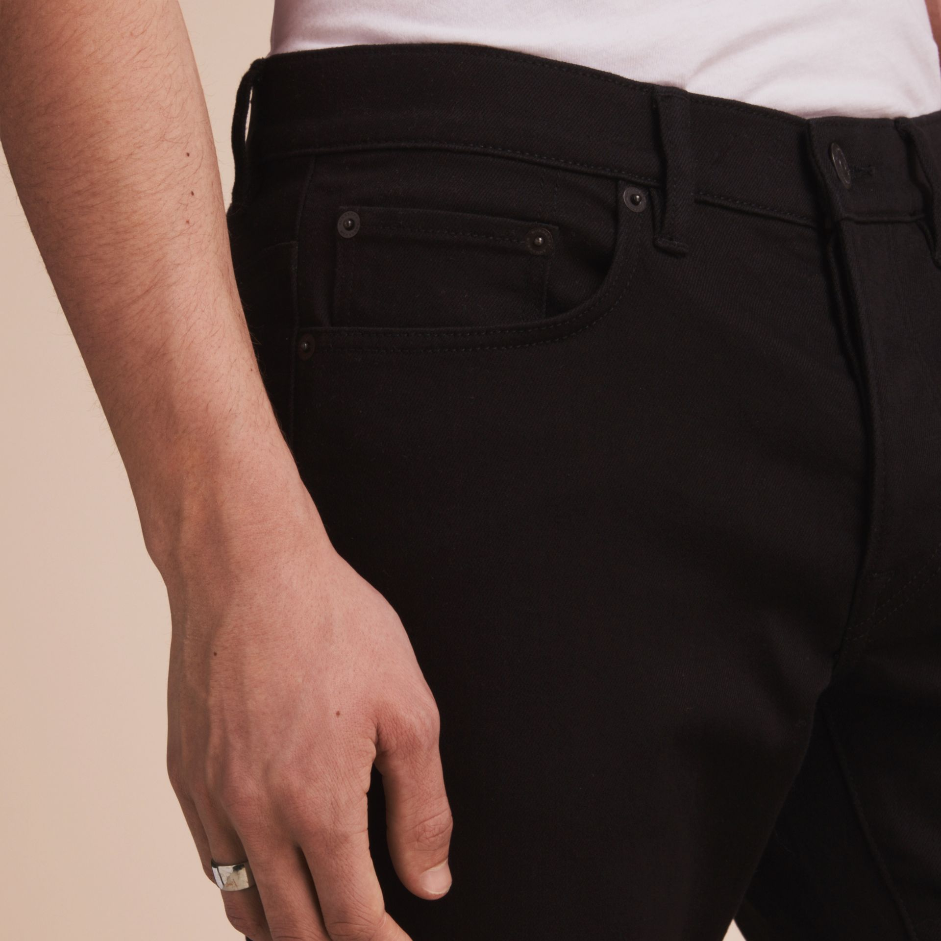 Relaxed Fit Stretch Jeans in Black - Men | Burberry - gallery image 5