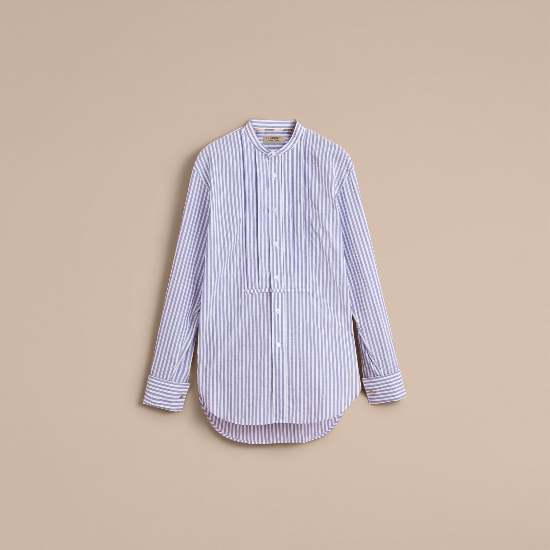 Unisex Pleated Bib Striped Cotton Shirt - gallery image 4