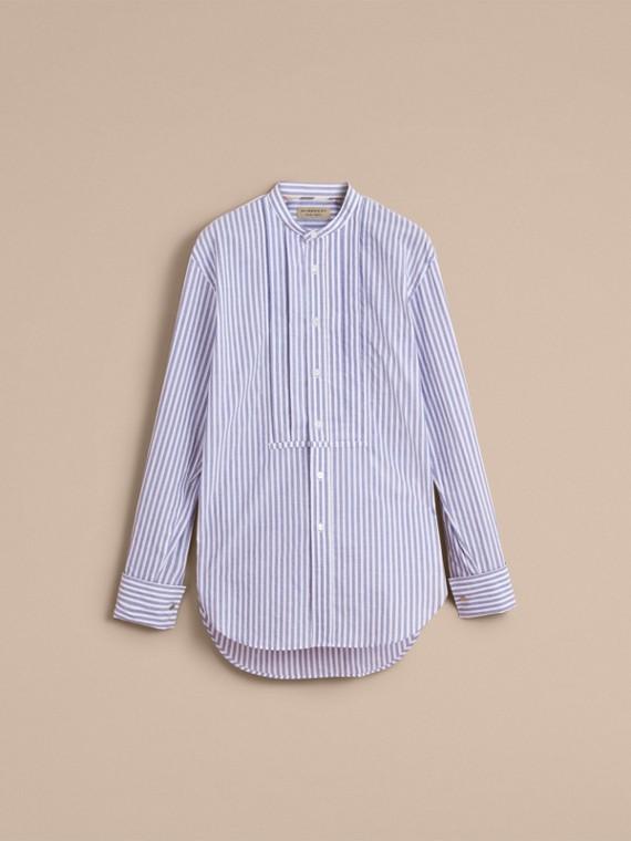 Unisex Pleated Bib Striped Cotton Shirt - cell image 3