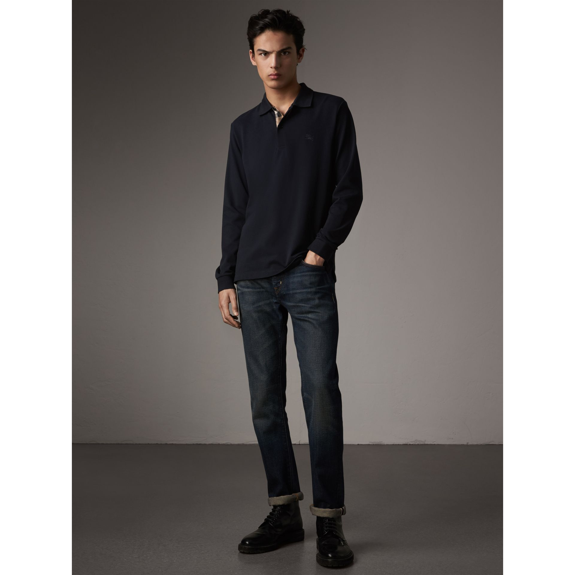 Check Placket Long Sleeve Polo Shirt in Dark Navy - Men | Burberry Singapore - gallery image 1