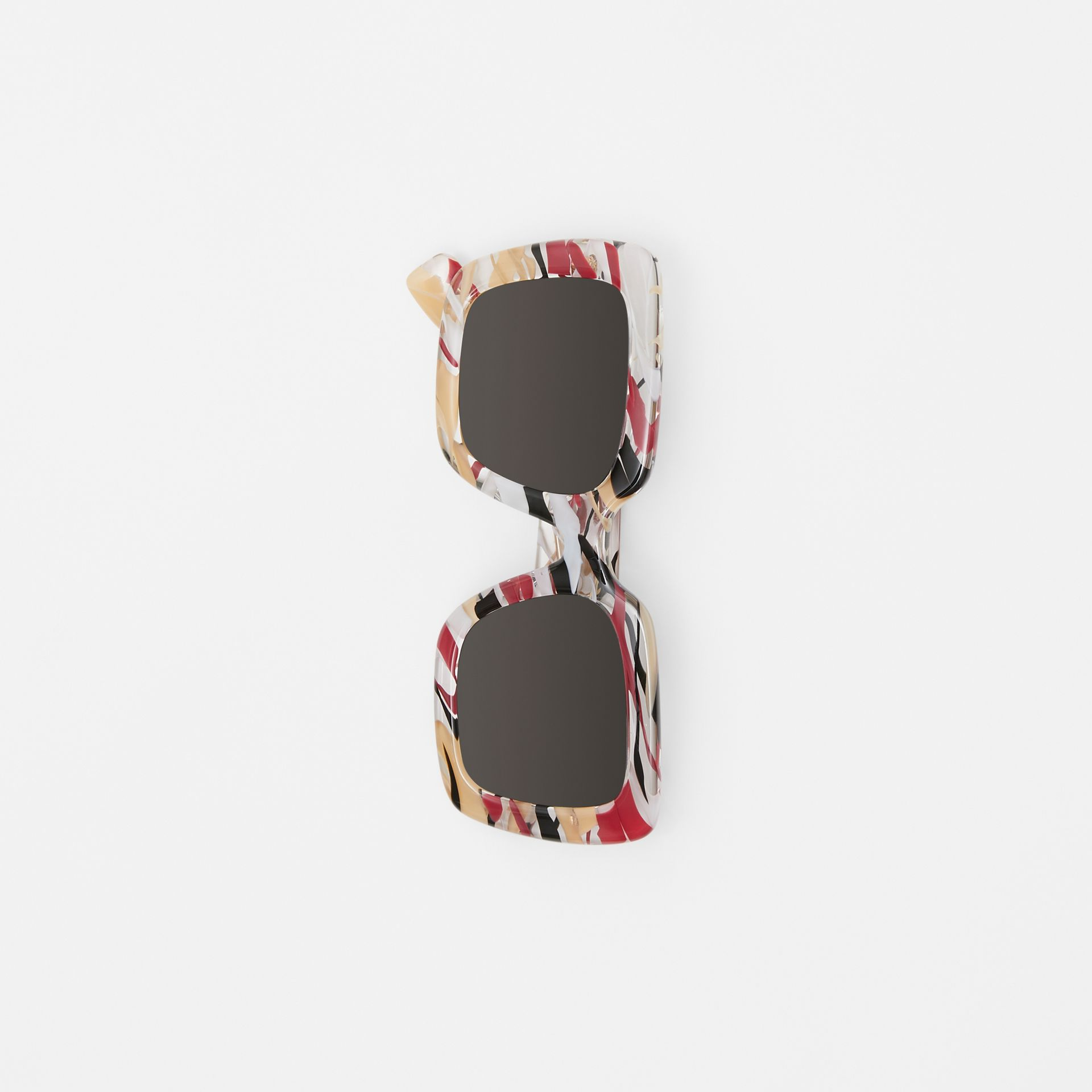 Marbled Check Oversized Square Frame Sunglasses in Lacquer Red - Women | Burberry United Kingdom - gallery image 3