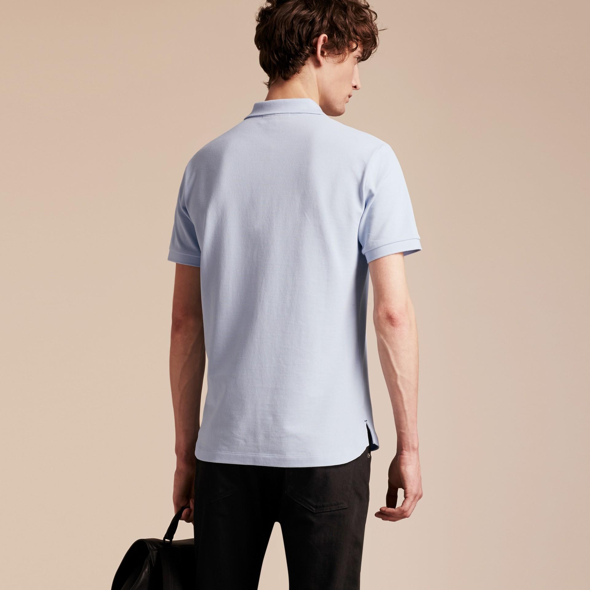 Printed Check Placket Cotton Piqué Polo Shirt - gallery image 3