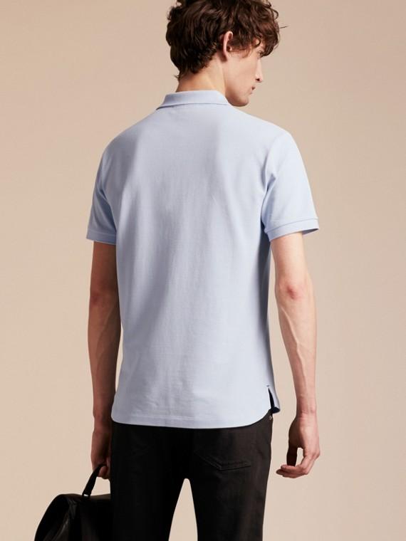 Printed Check Placket Cotton Piqué Polo Shirt - cell image 2