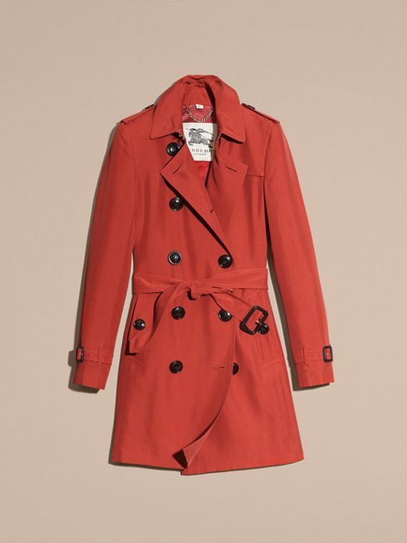 Bright copper pink Silk Trench Coat - cell image 3