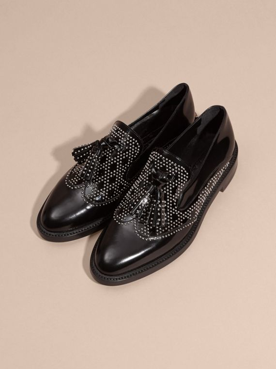 Black Studded Leather Tassel Loafers - cell image 2