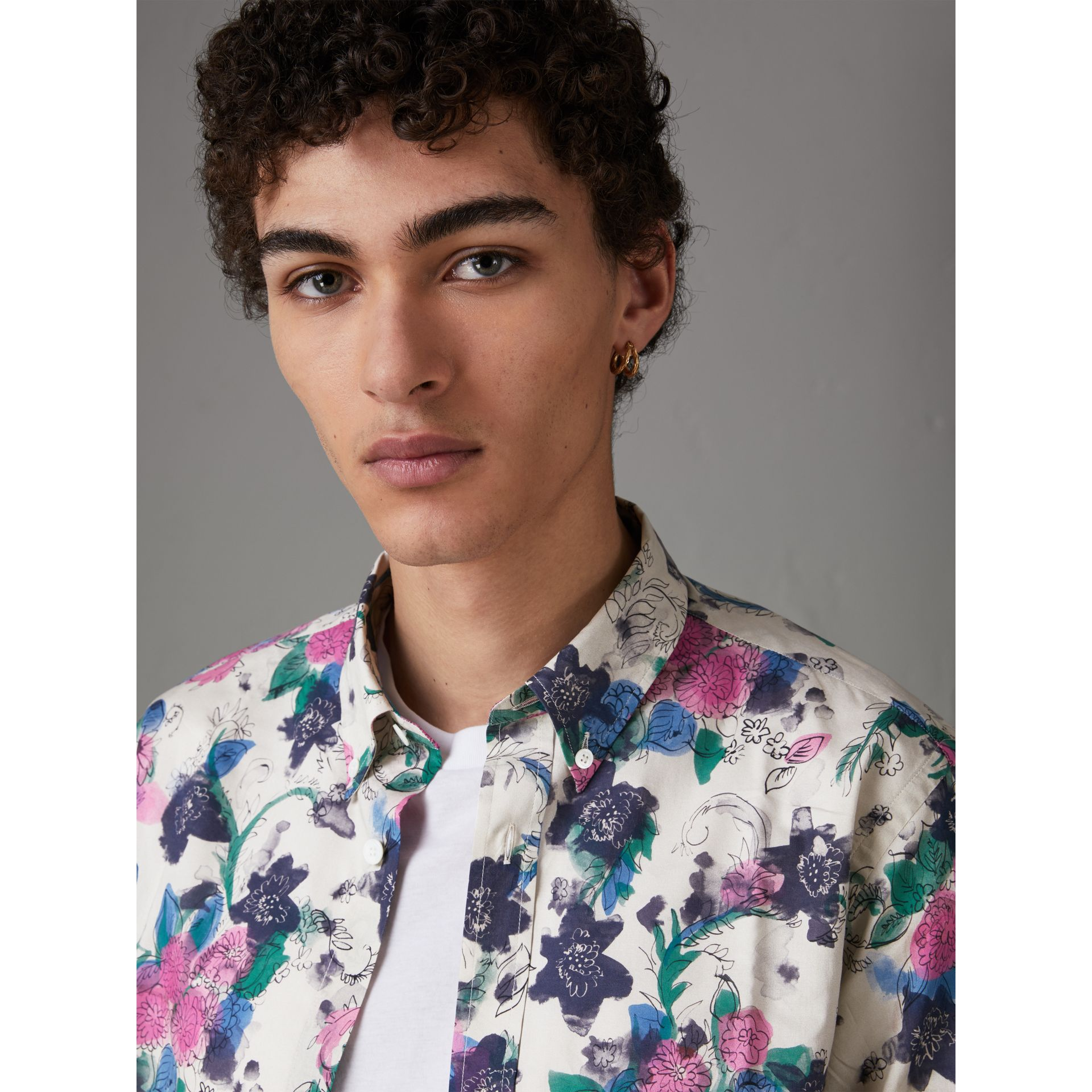 Watercolour Floral Print Shirt in Natural - Men | Burberry - gallery image 1