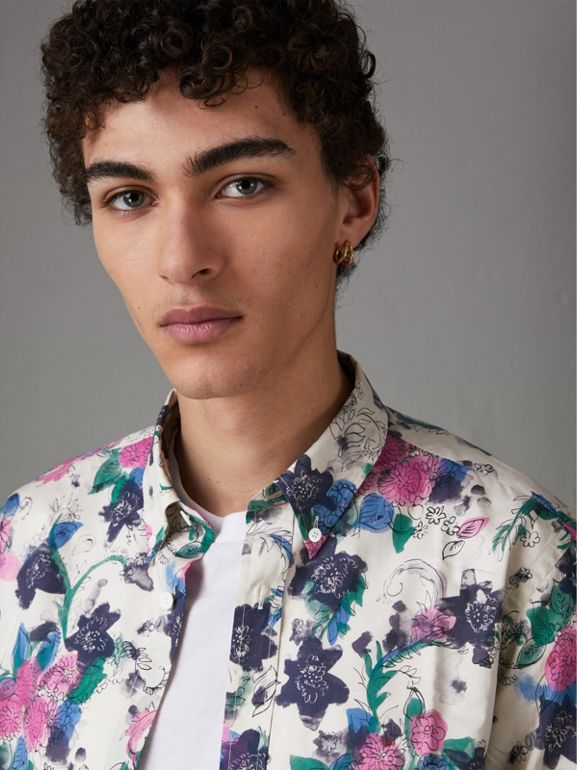 Watercolour Floral Print Shirt in Natural - Men | Burberry - cell image 1