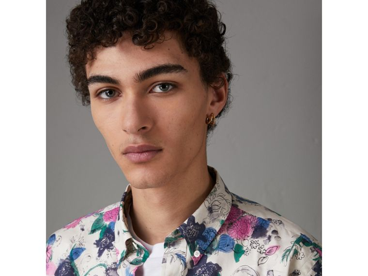 Watercolour Floral Print Shirt in Natural - Men | Burberry Canada - cell image 1
