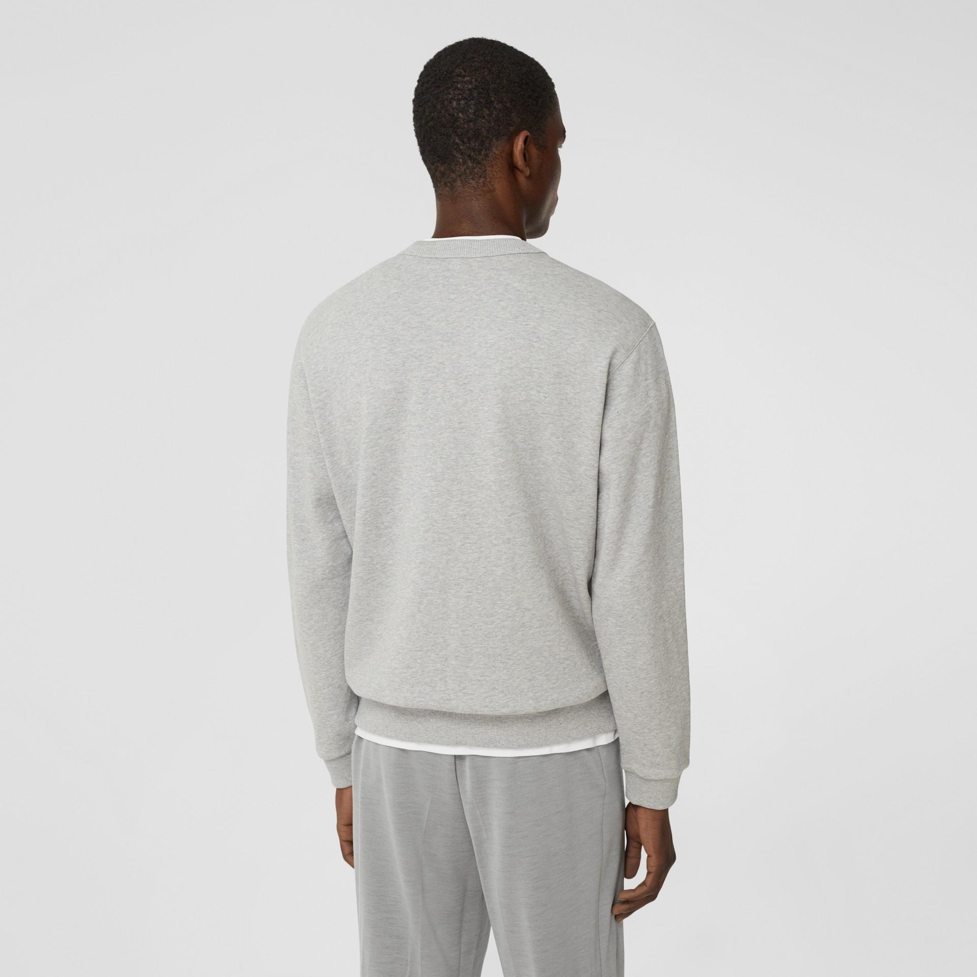 Monogram Motif Cotton Sweatshirt in Pale Grey Melange - Men | Burberry United Kingdom - gallery image 2