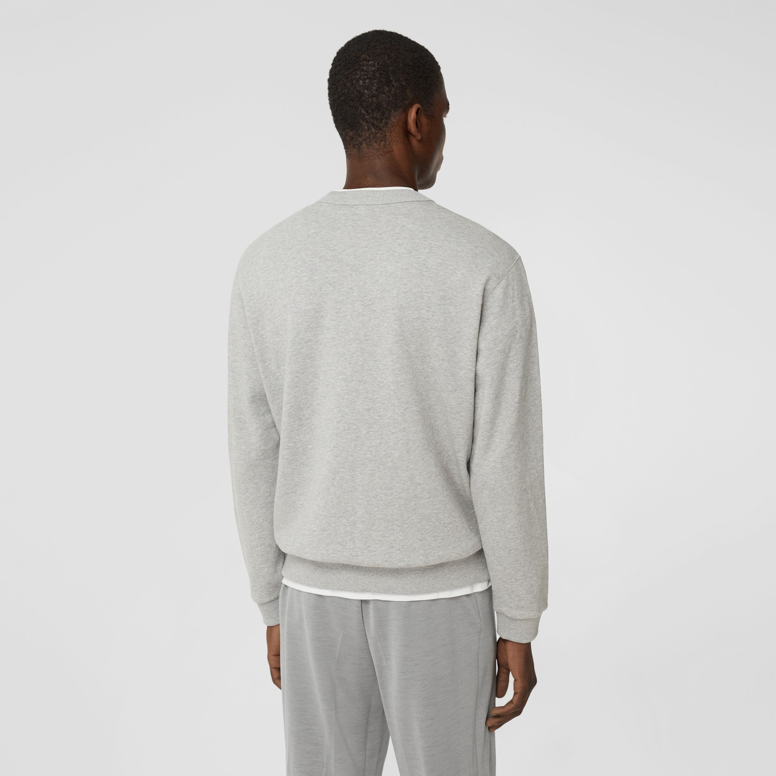 Monogram Motif Cotton Sweatshirt in Pale Grey Melange - Men | Burberry - 3