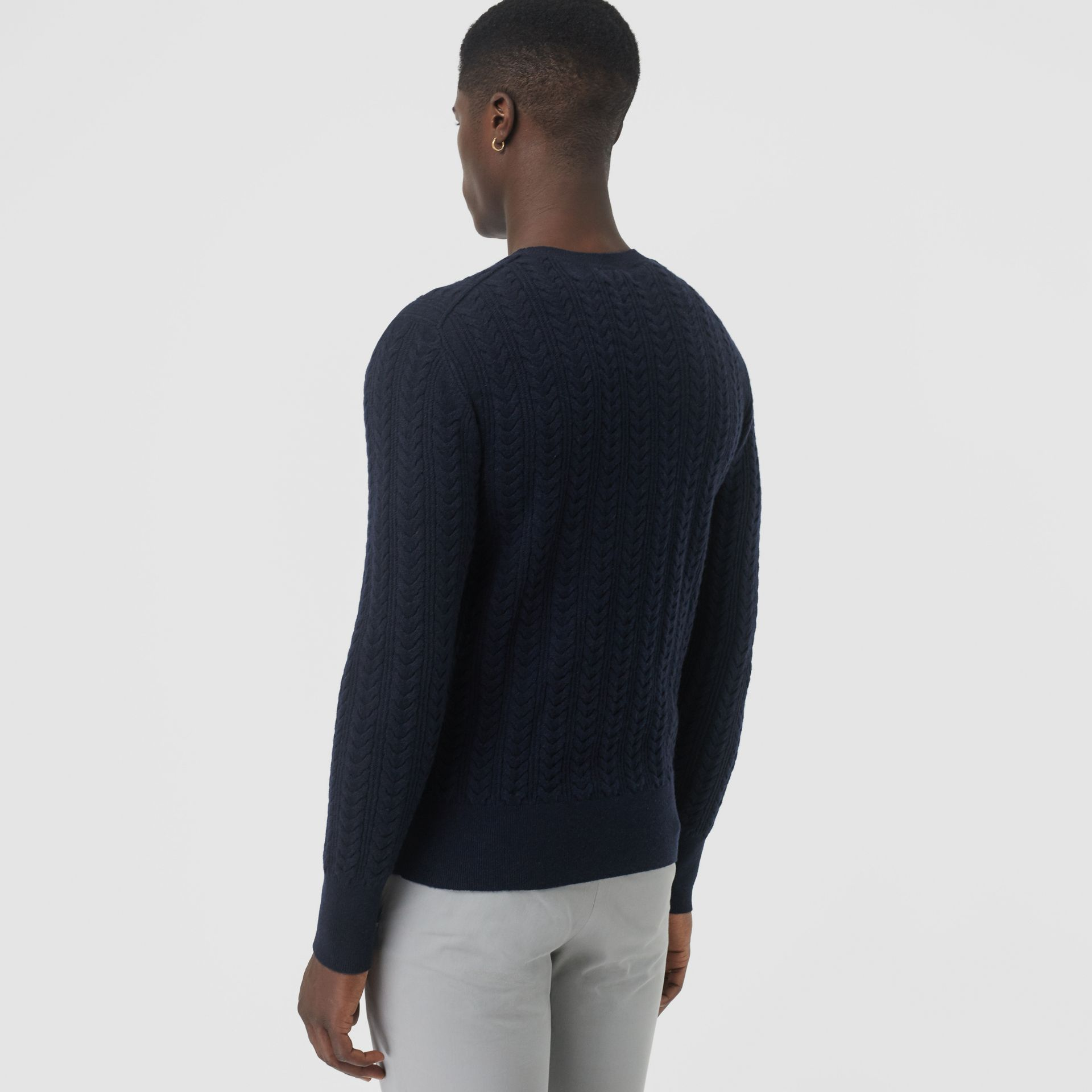 Cable Knit Cashmere Sweater in Navy - Men | Burberry United Kingdom - gallery image 2