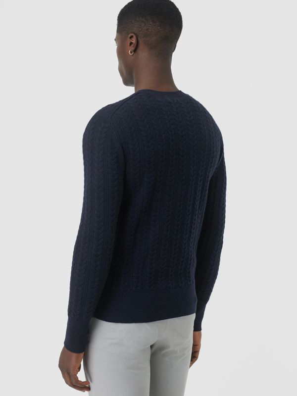 Cable Knit Cashmere Sweater in Navy - Men | Burberry United Kingdom - cell image 2