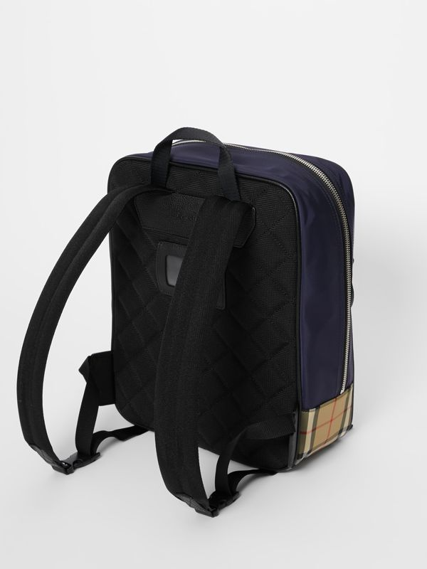 Colour Block Pocket Detail Vintage Check Backpack in Ice Pink/orange Red - Children | Burberry - cell image 2