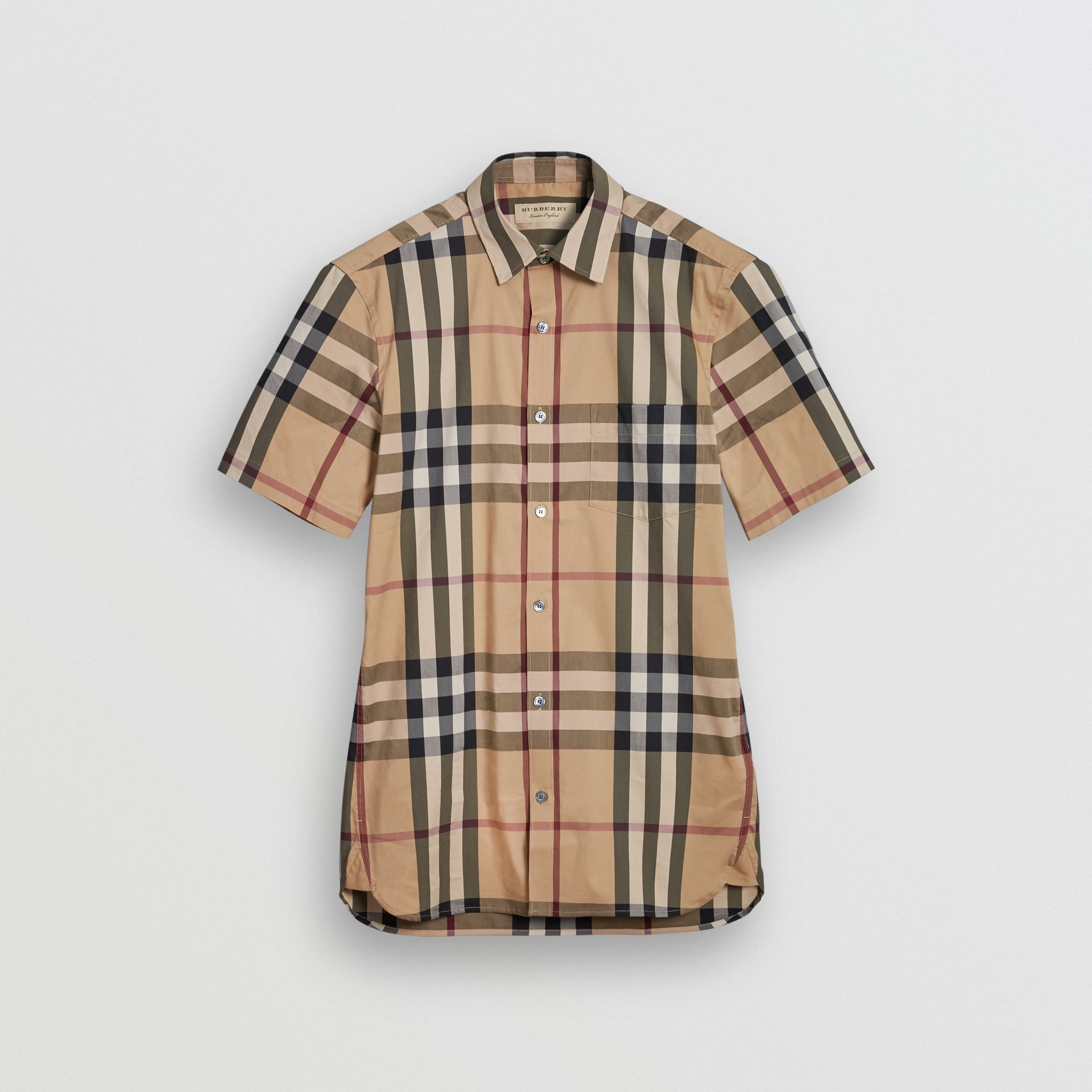 Short-sleeved Check Stretch Cotton Shirt in Camel - Men | Burberry - gallery image 3