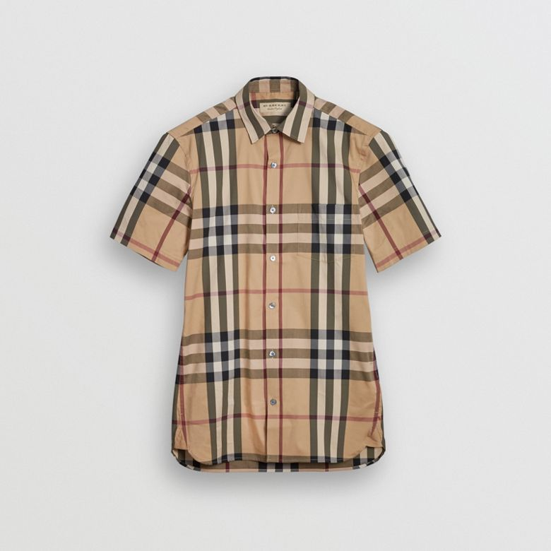 Burberry - Chemise en coton extensible à manches courtes avec motif check - 4