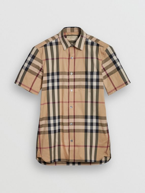 Short-sleeved Check Stretch Cotton Shirt in Camel