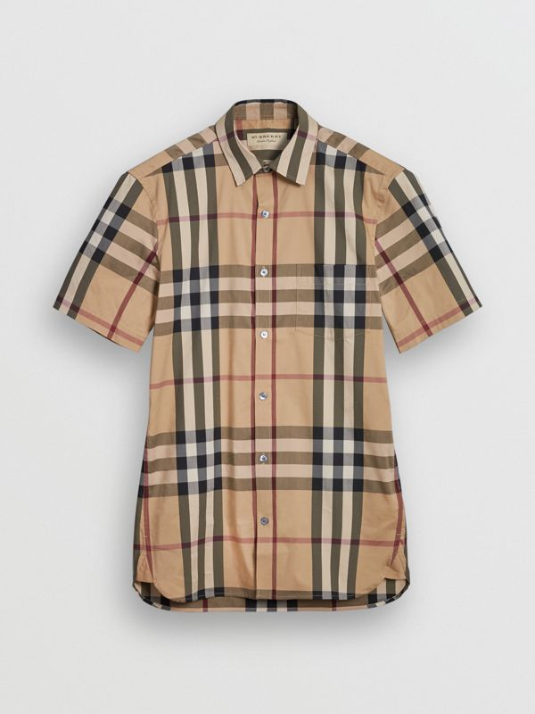 Short-sleeved Check Stretch Cotton Shirt in Camel - Men | Burberry Australia - cell image 3