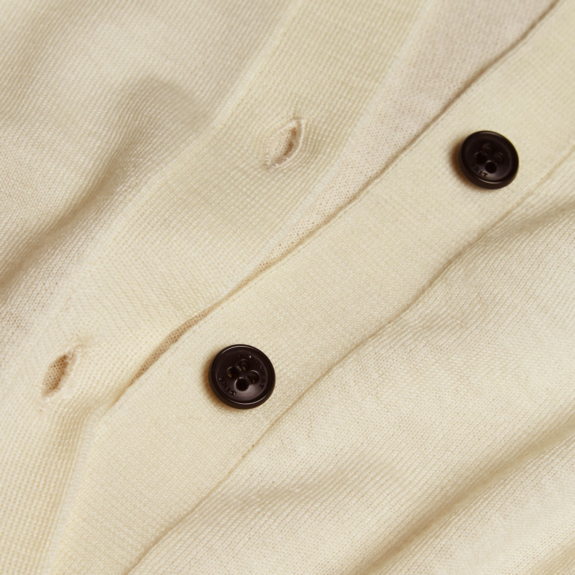 Check Detail Merino Wool Cardigan in Natural White - gallery image 2