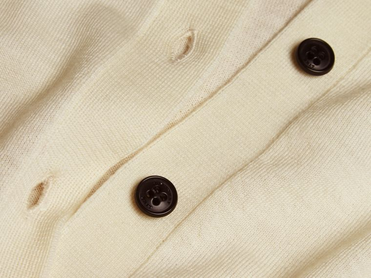 Check Detail Merino Wool Cardigan in Natural White - cell image 1