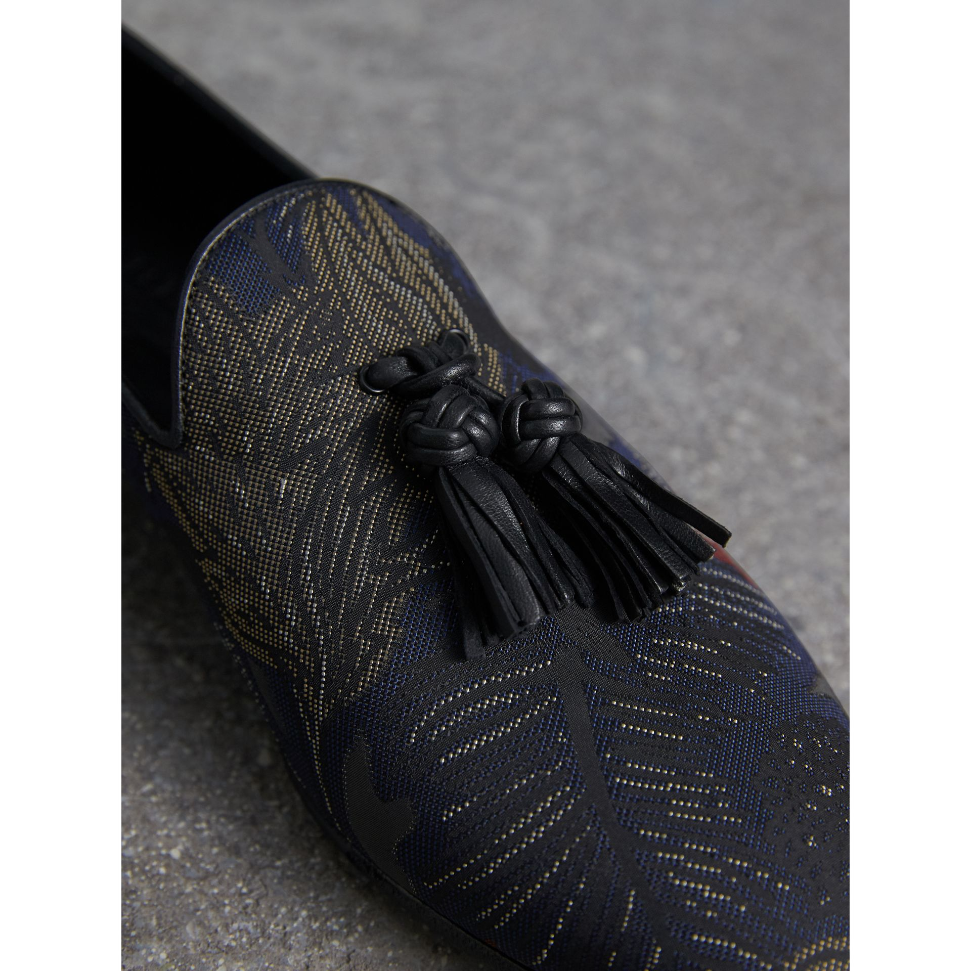 Tasselled Beasts Jacquard Loafers in Navy Grey - Men | Burberry - gallery image 2