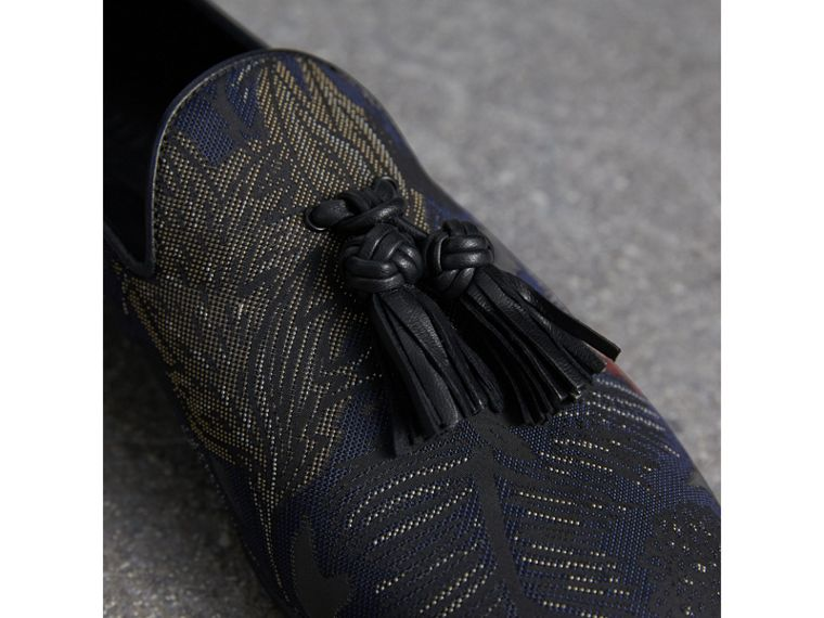 Tasselled Beasts Jacquard Loafers in Navy Grey - Men | Burberry - cell image 1