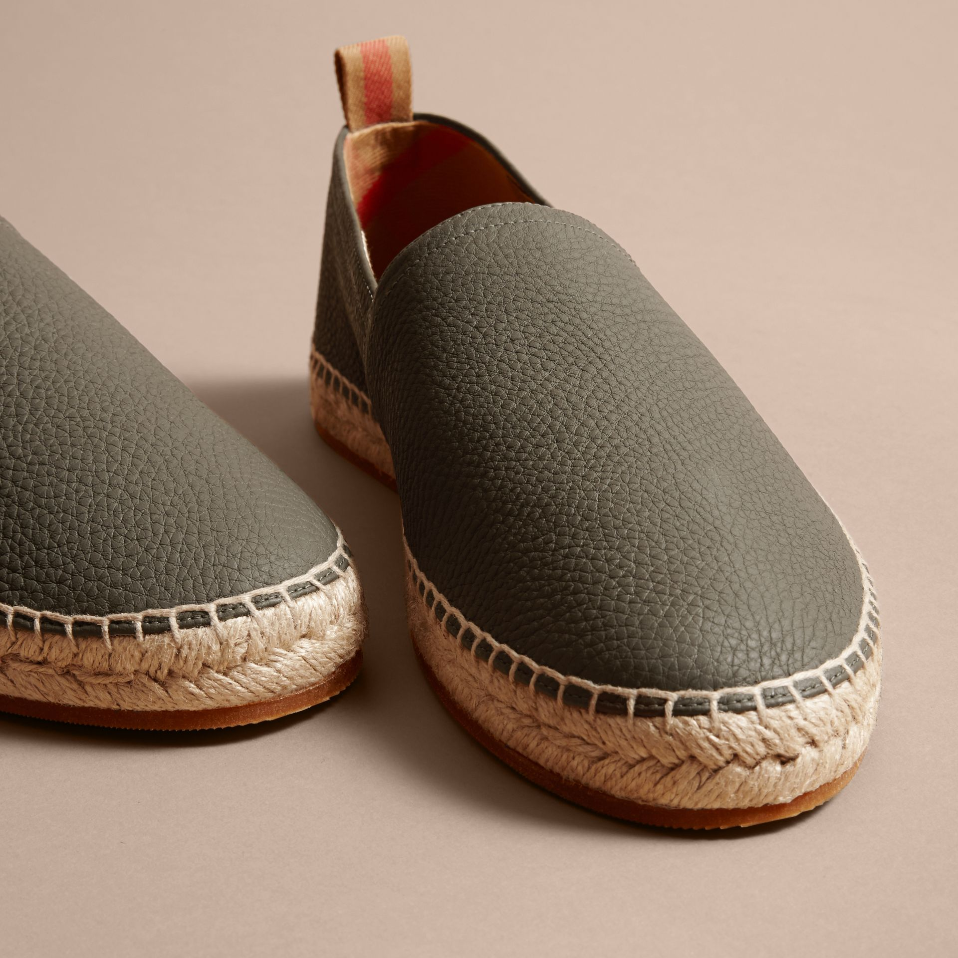 Check Detail Leather Espadrilles Khaki - gallery image 2